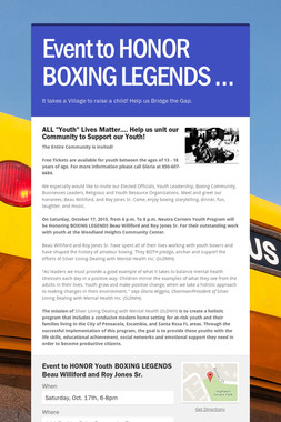 Event to HONOR BOXING LEGENDS …