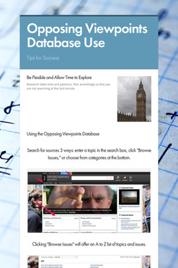 Opposing Viewpoints Database Use