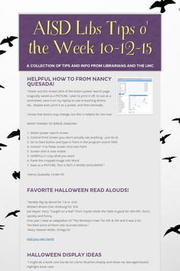 AISD Libs Tips o' the Week 10-12-15