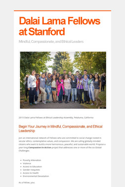 Dalai Lama Fellows at Stanford