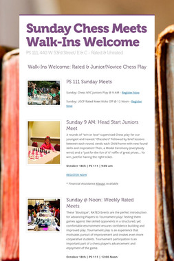 Sunday Chess Meets Walk-Ins Welcome