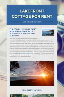 Lakefront Cottage  for Rent
