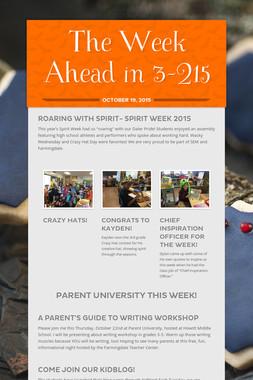 The Week Ahead in 3-215