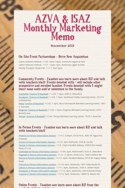 AZVA & ISAZ Monthly Marketing Memo