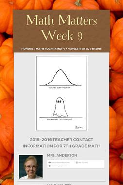 Math Matters Week 9