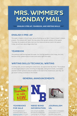 Mrs. Wimmer's Monday Mail