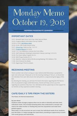 Monday Memo October 19, 2015
