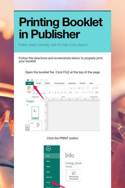Printing Booklet in Publisher