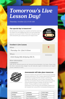 Tomorrow's Live Lesson Day!