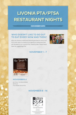 Livonia PTA/PTSA Restaurant Nights