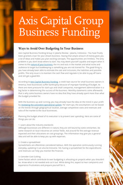 Axis Capital Group Business Funding