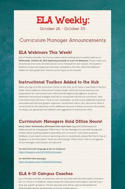 ELA Weekly: