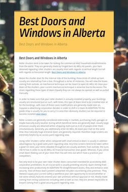 Best Doors and Windows in Alberta