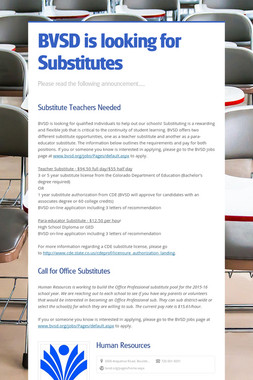 BVSD is looking for Substitutes
