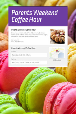 Parents Weekend Coffee Hour