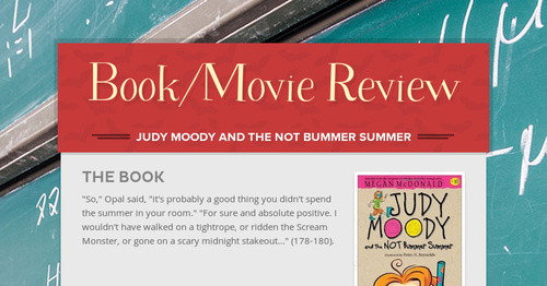 And judy not moody bummer book the summer
