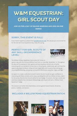 W&M Equestrian: Girl Scout Day