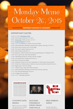 Monday Memo October 26, 2015