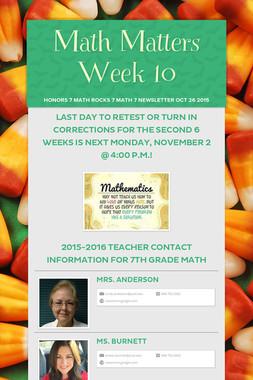 Math Matters Week 10