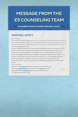Message from the ES Counseling Team