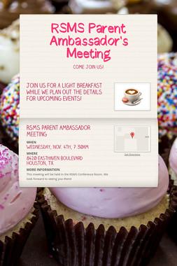 RSMS Parent Ambassador's Meeting