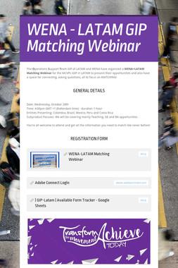 WENA - LATAM GIP Matching Webinar