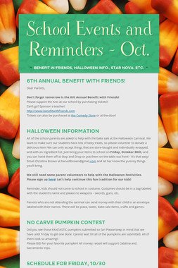 School Events and Reminders - Oct.