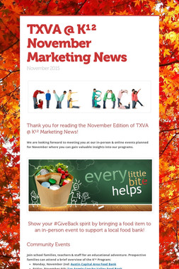 TXVA @ K¹²  November Marketing News