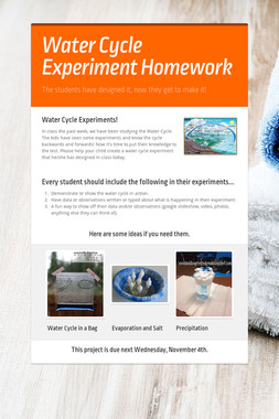 Water Cycle Experiment Homework