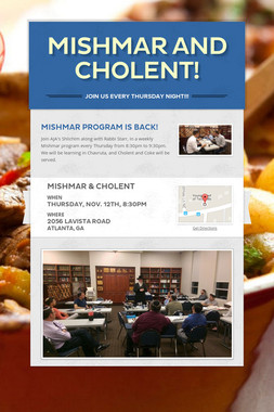 Mishmar and Cholent!