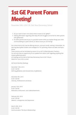 1st GE Parent Forum Meeting!