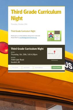 Third Grade Curriculum Night