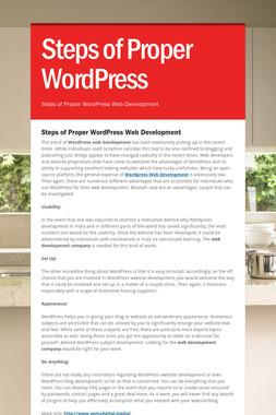 Steps of Proper WordPress