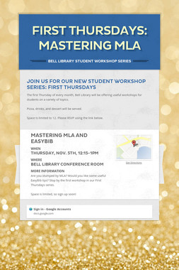 First Thursdays: Mastering MLA
