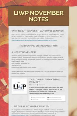 LIWP November Notes
