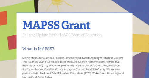 MAPSS Grant Smore Newsletters for Education