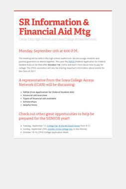 SR Information & Financial Aid Mtg