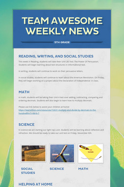 Team Awesome Weekly News