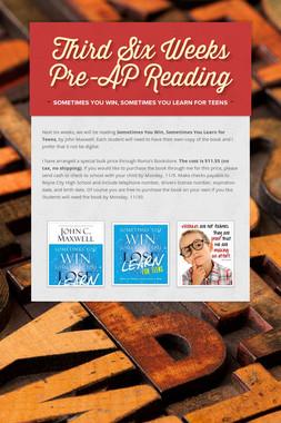 Third Six Weeks Pre-AP Reading