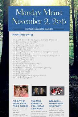 Monday Memo November 2, 2015
