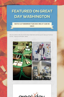 Featured on  Great Day Washington