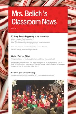 Mrs. Belich's Classroom News