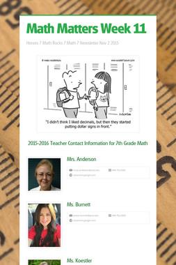 Math Matters Week 11