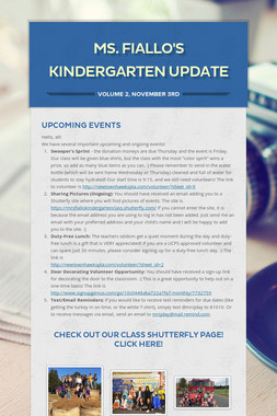Ms. Fiallo's Kindergarten Update