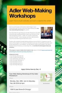 Adler Web-Making Workshops