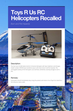 Toys R Us RC Helicopters Recalled