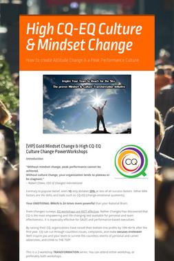 High CQ-EQ Culture & Mindset Change
