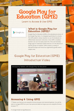 Google Play for Education (GPfE)