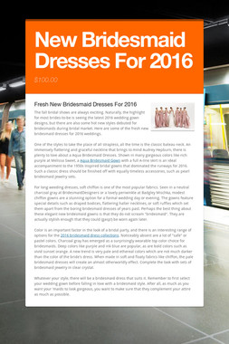 New Bridesmaid Dresses For 2016