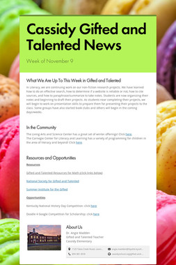 Cassidy Gifted and Talented News